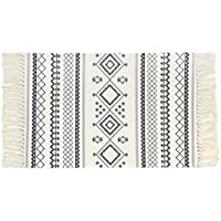 Cotton Printed Rug, Seavish Decorative Black White Bohemia Kilim Rug Hand Woven Rag Rug Entryway Thin Throw Mat Laundry Room Living Room Dorm, 2x3