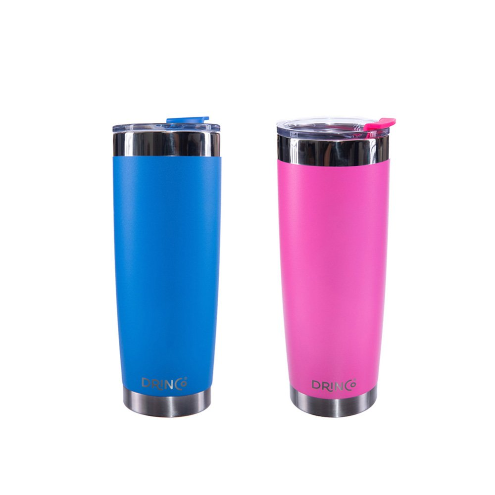 Drinco 20oz Stainless Steel Tumbler Vacuum Insulated Tumbler Cup Mug, with Splash Proof Lid, Powder Coated, Coffee & Tea, Double Wall Cruiser Tumbler, 20oz, 2pack (Pink/Blue)