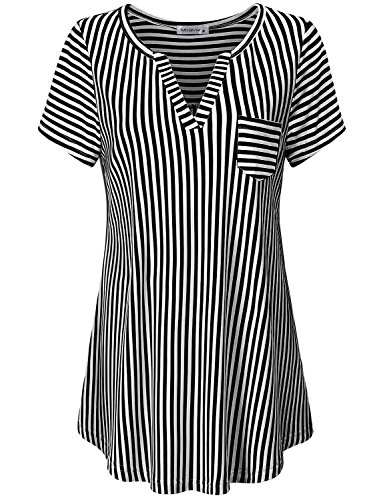 MOQIVGI Career Blouses for Women, Ladies Vneck Short Sleeve Summer Cool Figure Flattering Pleated Flared Henley Tops Cozy Popular Striped Print Work Shirts Black White XX-Large