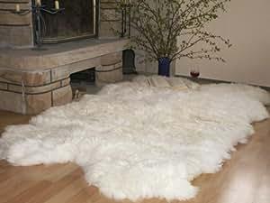 Natur-Fell-Shop - Alfombra de piel de oveja (4 pieles), color blanco