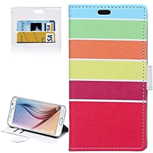 Colour Stripe Pattern Horizontal Flip Magnetic Buckle Leather Case with Card Slots & Wallet & Holder for Samsung Galaxy S6 / G920