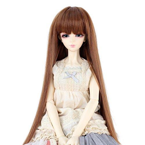 Miss U Hair Long Straight Hair 9-10 Inch 1/3 BJD MSD DOD Pullip Dollfie Doll Wig Not for Human (Light -