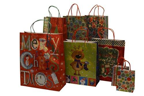 Christmas gift bags, hologram design, assorted sizes, 8 piece set