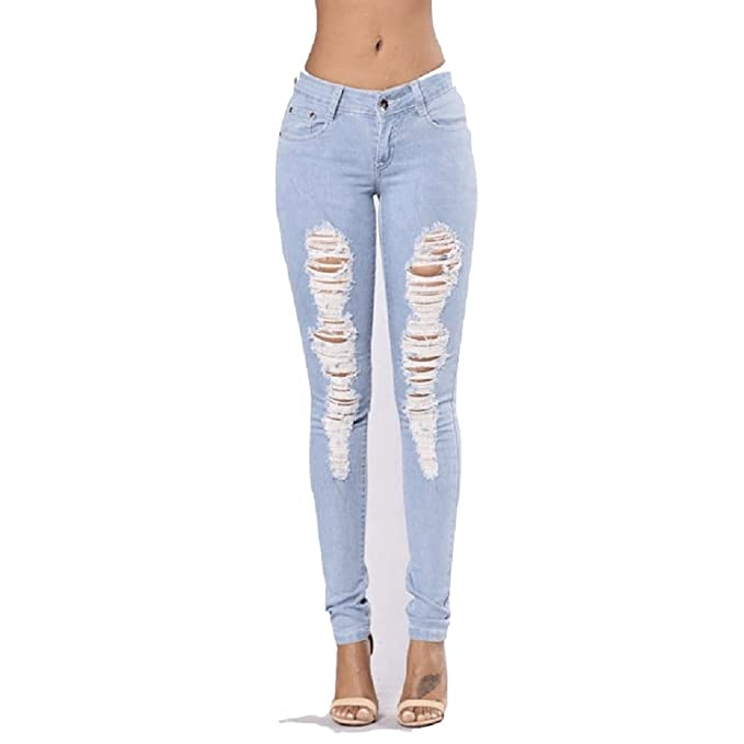 SYGoodBUY Jeans Mujer Ripped Skinny Low Waist Jeans ...