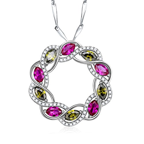 Merthus Womens 925 Sterling Silver Created Ruby & Peridot Circle Pendant Necklace