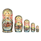 danila-souvenirs Russian Wooden Nesting Dolls Hand Painted Matryoshka 5 pcs Set Winter Troika 7.5''