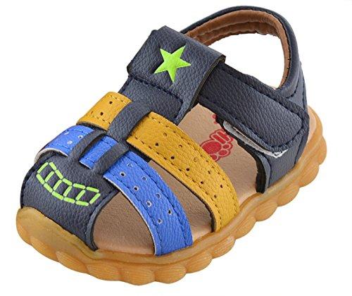 Unisex Baby Tassel Rubber Sole Non-Slip Summer Prewalker Sandals First Walkers Size 5 Blue (Sandals Walker Pre)