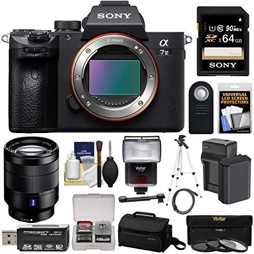 Sony Alpha A7 III 4K Digital Camera Body with FE 24-70mm f/4 Lens + 64GB Card + Battery + Case + 3 Filters + Flash + Tripod + Kit (Camera Sony M2)
