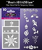 """Kit de modèles pour tatouages temporaires: """"Le meilleur de GlitZGlam"""". Tatouages pour enfants, adolescents et adultes"""