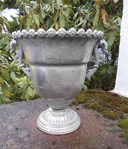 Deko-Impression Traumsch/öner /Übertopf Amphore Pflanztopf Vase Eisen Antik-Silber
