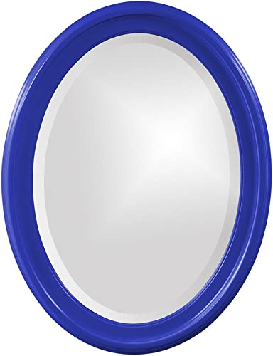 Howard Elliott George Oval Wood Framed Wall Vanity Mirror, Glossy Royal Blue, 40107RB