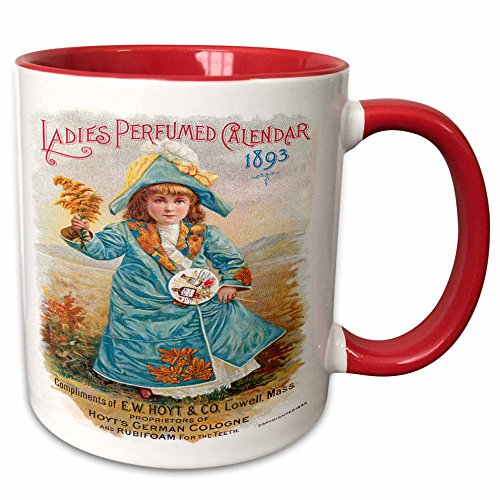 - 3dRose BLN Vintage Perfume and Toiletry Labels and Posters - Ladies Perfumed Calendar 1893 Hoyt Co Little Girl in Blue Calendar Cover - 15oz Two-Tone Red Mug (mug_153612_10)