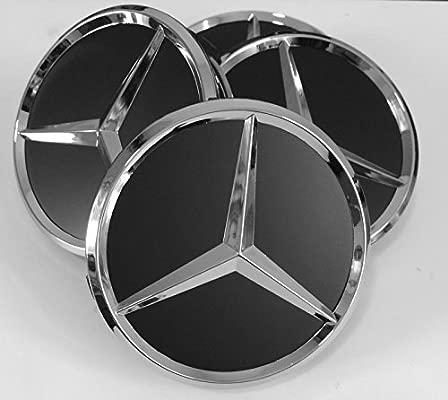 Tapacubos para Mercedes Benz, 4 unidades x 75 mm, Negro y Cromo