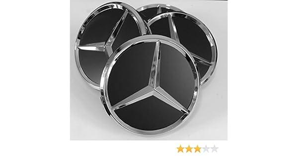 Tapacubos para Mercedes Benz, 4 unidades x 75 mm, Negro y Cromo: Amazon.es: Coche y moto