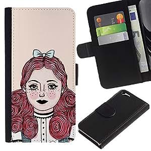 Apple (4.7 inches!!!) iPhone 6 Modelo colorido cuero carpeta tirón caso cubierta piel Holster Funda protección - Redhead Girl Pastel Tones