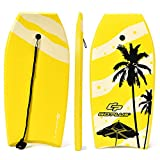 Goplus Super Bodyboard Body Board EPS Core, IXPE Deck, HDPE Slick Bottom with Leash (Yellow Coconut Palm, 41-inch)