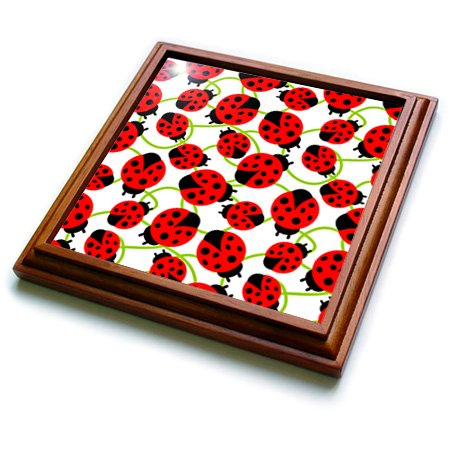 3dRose trv_48649_1 Red Ladybugs-Whimsical Art-Spring Trivet with Ceramic Tile, 8 by 8