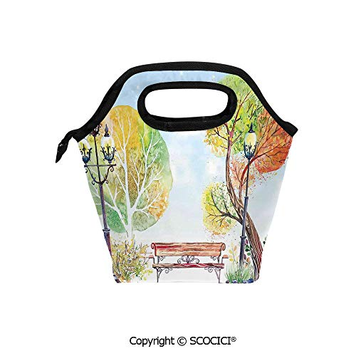 Picnic Food Insulated Cooler Tote Lunch Bag Colorful Fall Trees Wooden Bench Lantern in Park on Blue Sky Street Lamps Decorative Organizer Lunchbox for Women Men Kids.
