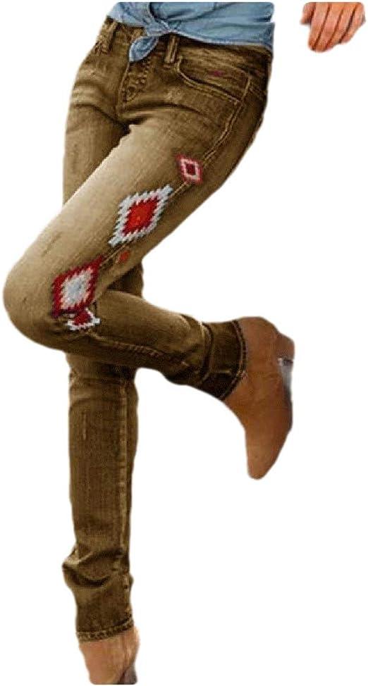 Tootess 女性ミドルウエストポケットカジュアルフローラルプリントレトロデニムパンツ