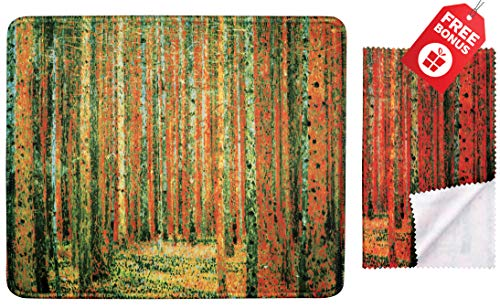 Gustav Klimt Pine Forest 1902 Mouse Pad with Colorful Classic Artwork Design. Non Slip Base. Matching Microfiber Cleaning Cloth for Eye Glasses & Electronics. Cool Mouse Pad for Laptop & Travel