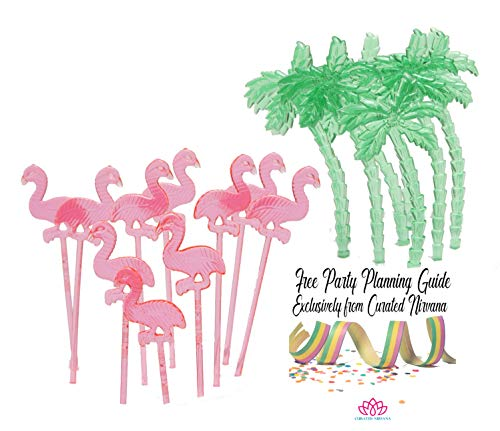 Summer Luau Pink Flamingo and Green Palm Trees Food & Cocktail Picks | 144 total pick count for drinks and appetizer skewer ()