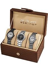 August Steiner Women's AS8063BK Dazzling Diamond-Accented Watch Set (Set of Three)
