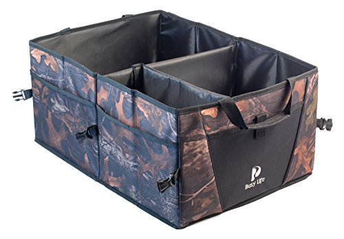 Busy Life Truck Cab Organizer - Camouflage - Great Trunk Organizer for SUV. Keep All Auto Supplies Together, Rugged and Durable for Hauling Cargo, Folds Flat for Easy Storage. Never (Camouflage Trunk)