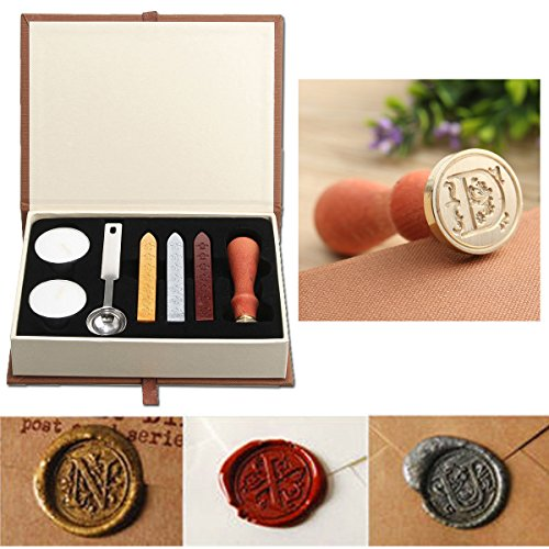 Seal Wax Kit,PUQU Vintage Initial Letters A-Z Alphabet Wax Badge Seal Stamp Kit Wax Set Tool Gift(D)