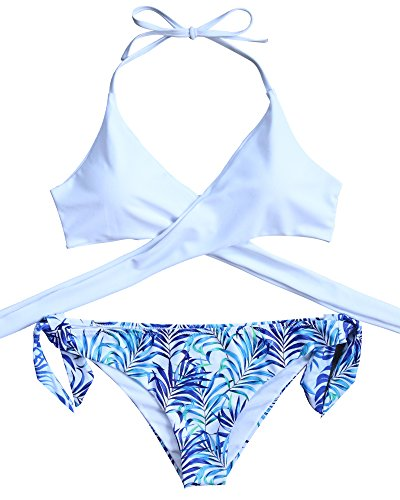 MOOSKINI Womens Sexy Padded Push-up Leaves Printing Bikini Set Two Pieces Swimsuit (S, White)