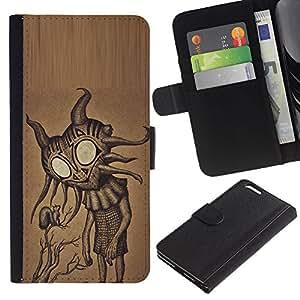 Estuche de Cuero Billetera del tirón Tarjeta de la Bolsa Titular de Suave Caso para Apple Iphone 6 PLUS 5.5 / CECELL Phone case / / Cute Friendly Big Eyes Alien Art /