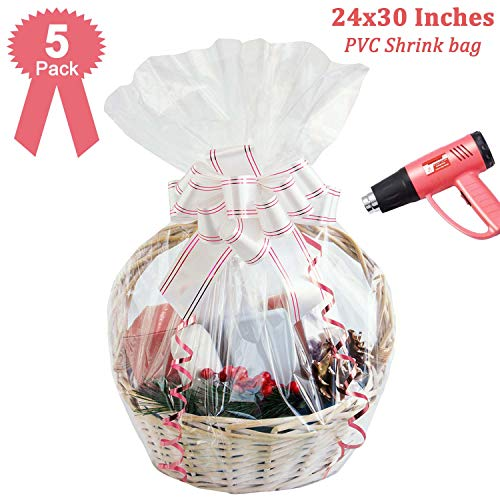 Easter Shrink Wrap Bags for Gift Baskets,24×30 inches Clear PVC Heat Shrink Wrap for Packaging,Gift Wrapping 5 Pack