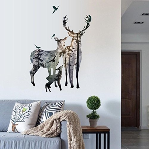 Vacally Wall Decor Wallpaper Wall Stickers DIY Deer Elk Head Home Decor Removable Living Room Bedroom Background ()