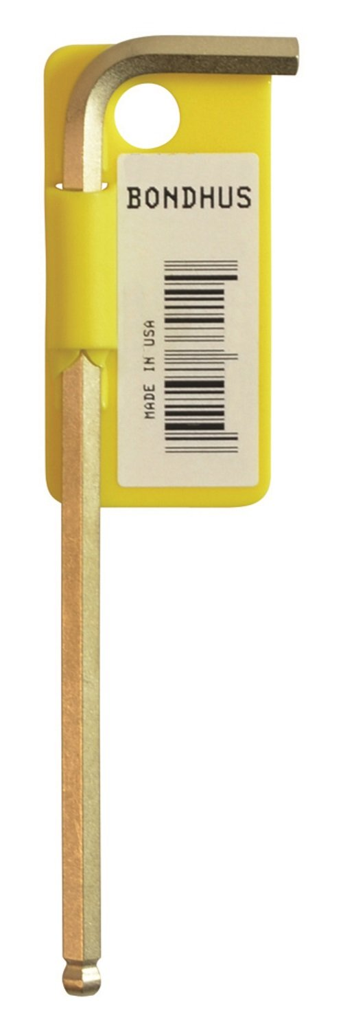 Bondhus 37902 Tagged and Barcoded .050'' Ball End Tip Hex Key L-Wrench with GoldGuard Finish, 2.8''