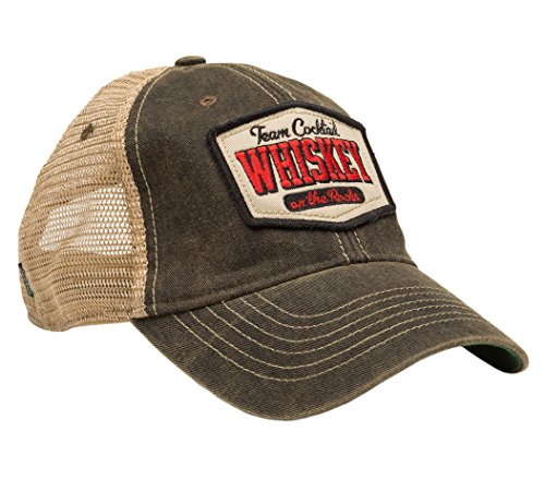 Team Cocktail Whiskey on the Rocks Mesh Trucker Hat - Black Hat (Black w/Red)