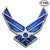 3D Metal US Air Force Premium Emblem Blue Wing Auto Badge Sticker 2-Pack