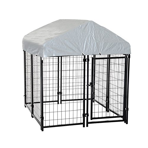 """PawHut 50"""" x 46"""" Outdoor Galvanized Metal Dog Kennel Playpen with Durable Tarp Cover"""