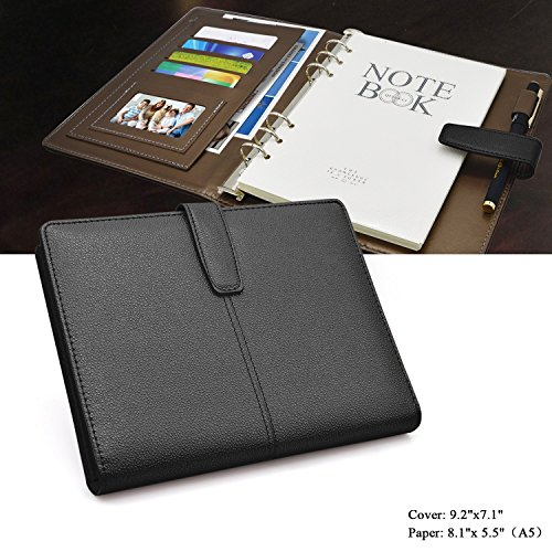 Leather Planner 6 Ring Binder Journal Pu Cover Daily Day Planner Refillable A5 Divider Inserts 2018 2019,Lined Undated,164 Lined Beige Pages,8.11x5.5Inches by izBuy (Black)