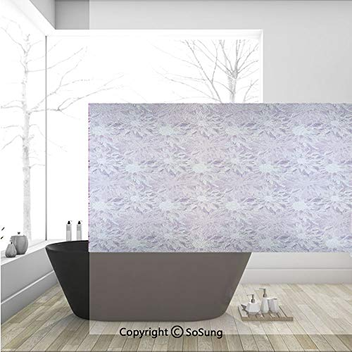 - 3D Decorative Privacy Window Films,Digital Guiloche Fractal Crystal Stylized Floral Ornamental Retro Design,No-Glue Self Static Cling Glass Film for Home Bedroom Bathroom Kitchen Office 36x24 Inch