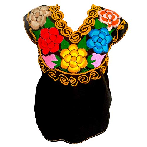 Floral Mexican Blouse - Authentic Embroidered Chiapas Blouse - Handmade - Black with Colorful Flowers (S-M)