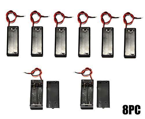 WAYLLSHINE 8PCS ON/OFF Switch With Cover 2x 1.5V AAA Battery Holder Battery Case Battery Box with 5.5