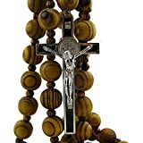 Wall Wood Rosary - Large 20mm Beads - 40inch Long with 4inch Saint Benedict Cross.