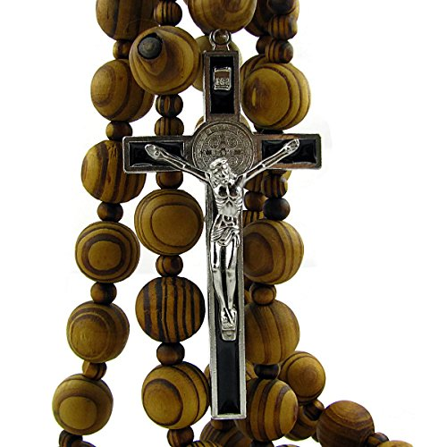 Wall Wood Rosary - Large 20mm Beads - 40inch Long with 4inch Saint Benedict ()
