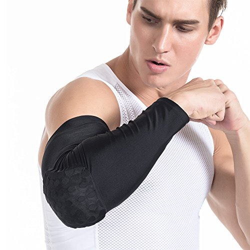 TUOY Mens Boys ELbow Honeycomb Pad Crashproof Baseball Softball Cycling Basketball Arm Guard Sleeve Elbow Support Combat Basketball Pad Protector Gear Shooting Hand Arm Sleeve