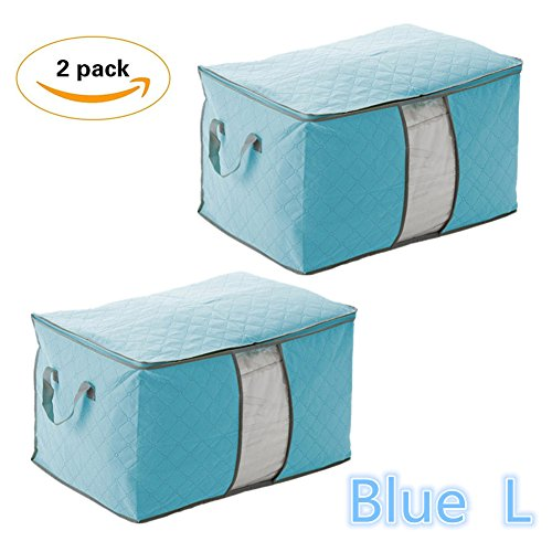 Elibeauty 2 Pcak Durable Foldable Storage Bags Organizers with Handles Zipper Bag Space Saver for Clothes, Blankets (Blue - View Saver Space