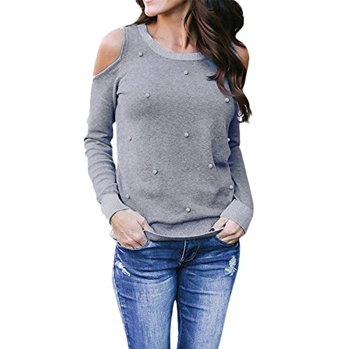 Beading T-Shirt Loose Casual Off Shoulder Tops Blous (Casual Loose Beadings)
