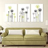 wall26-3 Panel Canvas Wall Art - Hand Drawing Style Dandelions on White Background - Giclee Print Gallery Wrap Modern Home Decor Ready to Hang - 16''x24'' x 3 Panels
