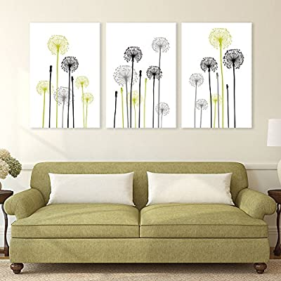 3 Panel Canvas Wall Art - Hand Drawing Style Dandelions on White Background - Giclee Print Gallery Wrap Modern Home Art Ready to Hang - 16