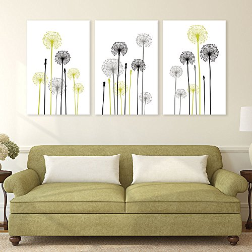 3 Panel Hand Drawing Style Dandelions on White Background x 3 Panels