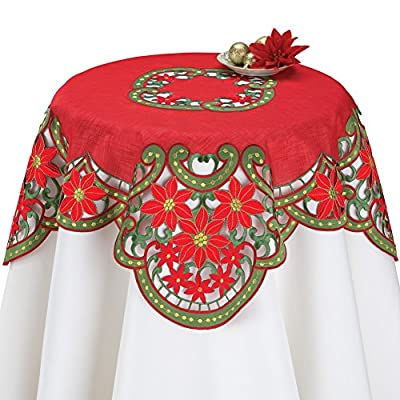 Organza Christmas Poinsettia Table Linens