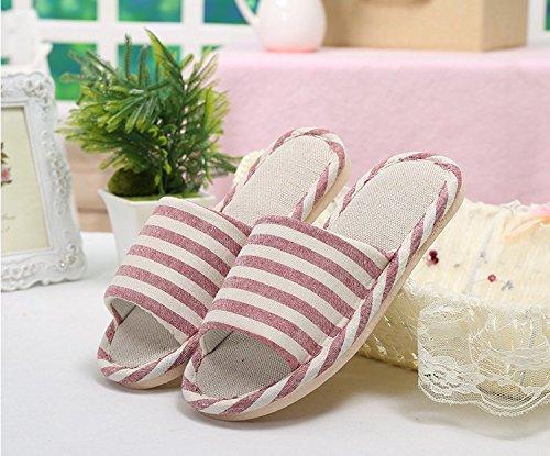 Fankou anti-slittamento nel tuo salotto. Un paio di biancheria in cotone lino pantofole durante la primavera e autunno gli uomini e le donne con pavimento in legno pantofole ,42-43, strisce strisce ro